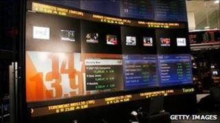 Screens at the Toronto Stock Exchange