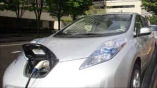 A Nissan Leaf car being charged