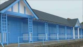 Restored row of Clacton beach huts