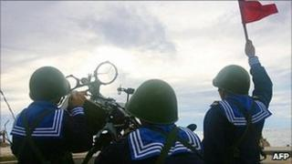 Vietnamese sailors training with a 12.7mm machine gun on Phan Vinh Island in the Spratly archipelago