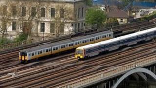 Two trains on tracks