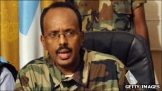 Somalia's prime minister at press conference (archive shot)