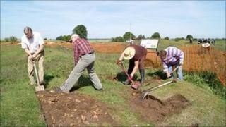 Volunteers helping at the dig site at Bardney