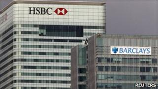 HSBC and Barclays buildings in Canary Wharf