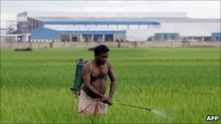 Farmer outside Nano factory in Singur