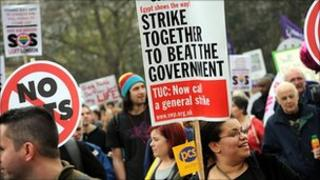 Union members protest against government spending cuts in March