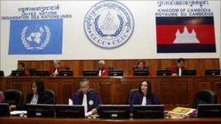 A general view shows the courtroom during the hearing of former Khmer Rouge deputy prime minister and minister of foreign affairs Ieng Sary at the Extraordinary Chambers in the Court of Cambodia (ECCC) in Phnom Penh on February 11, 2010