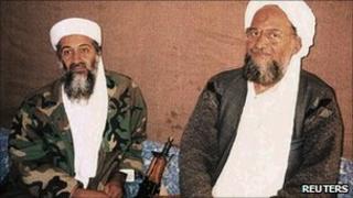 Osama Bin Laden with his deputy Ayman al-Zawahiri in November 2001