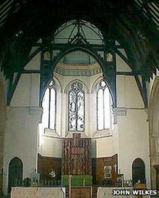 Interior of St John the Evangelist in Coleford