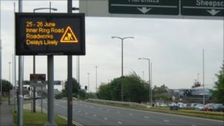 Traffic information screen in Leeds