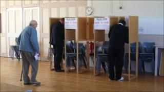 Electors voting at St Sampson's polling station