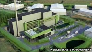 Artist's impression of waste facility near Hartlebury, Worcestershire