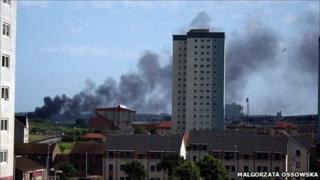 Smoke from Aberdeen fire [Pic: Malgorzata Ossowska]