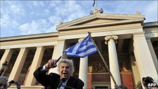 Composer Mikis Theodorakis gives a speech in Athens.