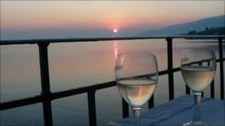 Wine and sunset