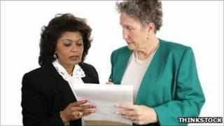 Older woman working in an office environment