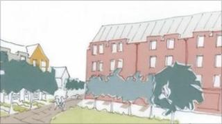 Artist's impression of part of the development