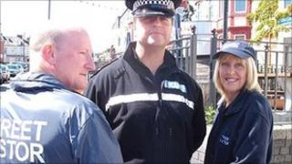 Street pastors and police officer in Whitley Bay