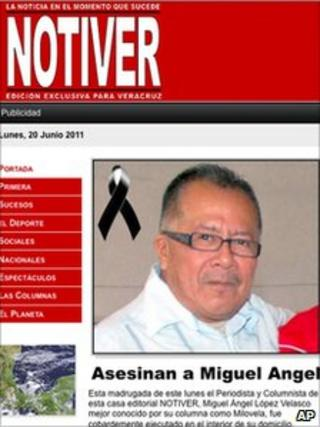 This screen grab taken from the Notiver daily newspaper's website on 20 June carries the report of Mr Lopez Velasco's murder