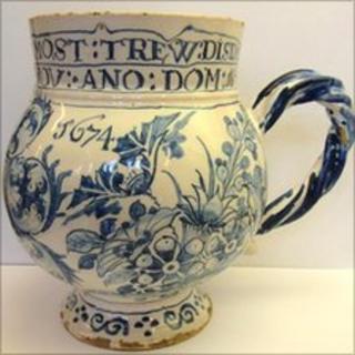 London Delft ceramic mug