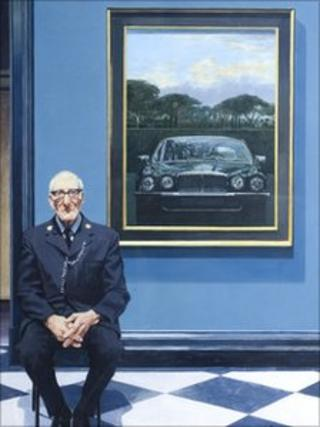 Daimler and Gallery Attendant 1983 by Bryan Organ, b.1935. © Bryan Organ & The Redfern Gallery, London. Held in the Jaguar Heritage collection.