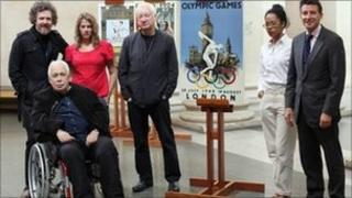 From left to right) Martin Creed, Howard Hodgkin, Tracey Emin, Michael Craig Martin, Anthea Hamilton and former Olympian Lord Sebastian Coe