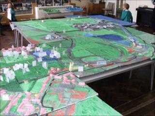 A large model of Lydney created by pupils at Severnbanks School