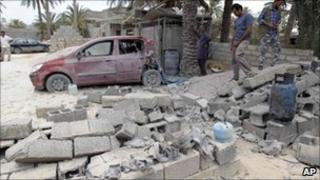 Damage from Libyan government bombing raid on Misrata