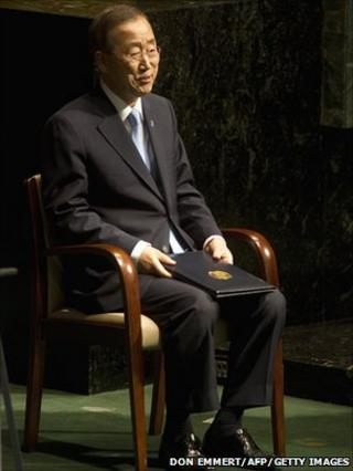 Ban Ki-moon waits to address the UN General Assembly after his re-election at Secretary General