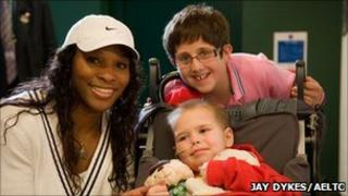 Serena Williams with Jack Marshall and his brother, Josh