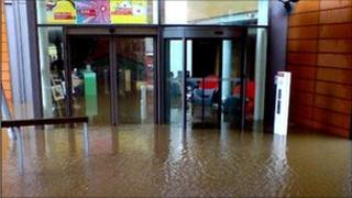 Flooded Vodafone headquarters in Newbury in 2007