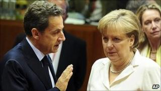 French President Nicolas Sarkozy and German Chancellor Angela Merkel at Brussels summit, 24 Jun 11