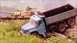 Yugoslavian Army tank in Slovenia (file image dating from 1991)