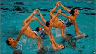 The Spanish team at the 2011 LEN European Synchronised Swimming Champions Cup in Sheffield, England, on 21 May