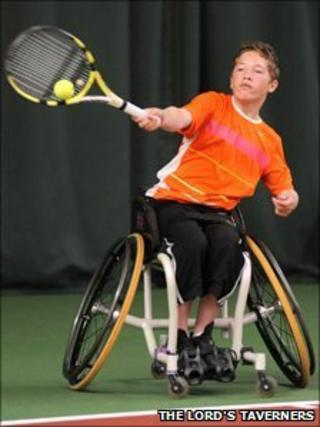 Alfie Hewett playing tennis (Photo: The Lord's Taverners)