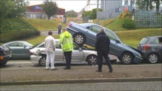 One car ended up on top of the vehicle behind in Pontardulais Road, Fforestfach