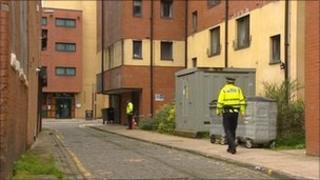 Police at the scene of the rape