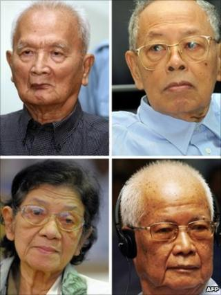 Nuon Chea (top left), Ieng Sary (top right), Ieng Thirith (bottom left), Khieu Samphan (bottom right). File photo