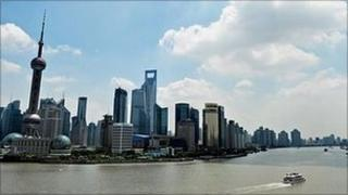 The skyline of the Shanghai's financial district