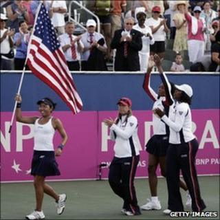 The US women's team celebrate a Fed Cup success in 2007