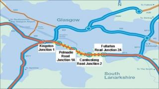 Map of new M74 extension (from Transport Scotland)
