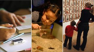 Pupil in school, girl at museum, and mother and son at an art gallery