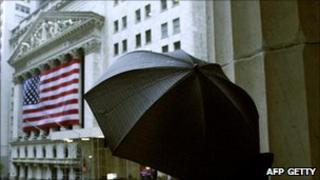 US citizen under an umbrella