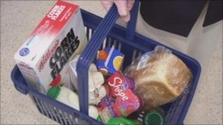 Shopping basket full of food