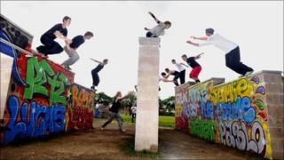 Boys at the opening of the parkour course in Coatbridge