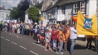 Striking union members in Dorchester