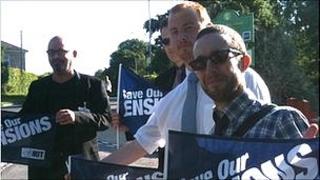 Teachers striking at Hardenhuish School in Chippenham