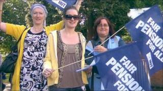 Pensions protesters outside Frederick Road Primary School in Coventry