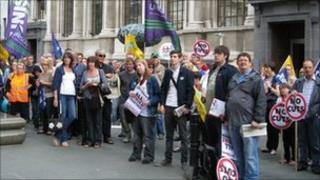 Unison members striking in Doncaster