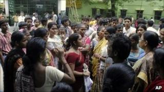 Relatives and parents gather outside the BC Roy Hospital for Children in Calcutta